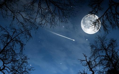 comet moon night sky